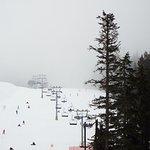 Green run and ski lift