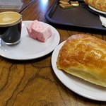 Chocolate croissant and espresso