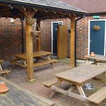 "The sheltered courtyard of the ""Sussex Brewery"" is a good place to eat and drink on a Summer eve"