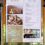dinner display menu for Noi Thai Cuisine