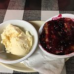 Go for the cobbler!! The best blackberry cobbler since my Granny passed in 1970. Not too sweet,