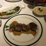 Duck with asparagus and mashed potatoes; stuffed trout with braised cabbage and pole ta cake; cr