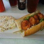 The most delectable shrimp Po'boy and so yummy potato salad! (with some very good local brew)