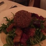 Warm Pecan Crusted Goat Cheese and Baby Arugula Salad