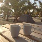 Morning coffee on Ragga Caye.