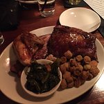 Big Boy Combo (chopped pork, brisket, chicken, ribs) w/ collard greens and fried okra...YUM!!!