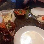 Fresh naan, Baltimore garlic chicken, paneer, basmati rice