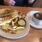 2 piece cod (grilled) and chips with gravy, French Creek Marine Pub, 1025 Lee Road | # 1, Parksv