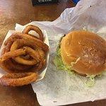 Onion rings and Swiss Mushroom burger