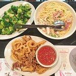 Chicken carbonara, calamari and a side of broccoli
