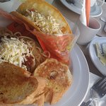 my order- taco and pasta with nice cup of hot freshly brewed coffee