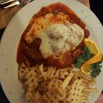 Chicken Parmesan with Waffle French Fries