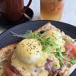 Eggs Benny with salmon.