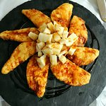 Aubergine in batter with cheese and honey