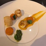 Scallops with sweet potato and salsa verde