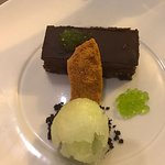 Chocolate pave, lime sorbet and honey comb