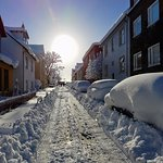 Our street on a sunny & snowy day