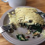 Savory crepe: bacon spinach mushroom Swiss cheese with mayo mustard drizzle