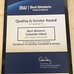 QUALITY & SERVICE  AWARDS 2017  for   BEST WESTERN COLOMBE -Oran- Algeria