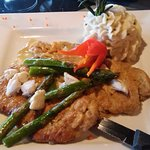 Veal Scallopini with crab, asparagus and sour cream potatoes