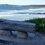 Great wood and stone bench overlooking Carmel beach