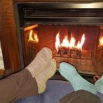Thoreau Falls room, fireplace