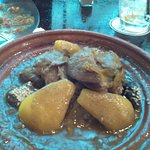 Tagine lamb-with pears, prunes, and almonds