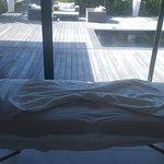 Massage table ready for a body scrub