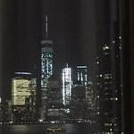 Night view of One World Trade Center from our room