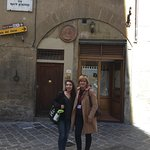 Anna and Adri outside the nice little place for lunch