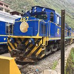 The Belmond Hiram Bingham engine at the Aguas Calientes station.