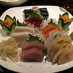 Sashimi with a yamagobo shiso roll