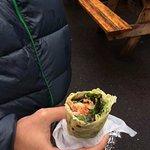 Lefsa wraps with smoked salmon