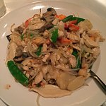 Marco Polo Lomein, lobster, chicken and vegetables with pan-fried noodles
