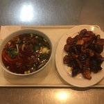 Beef Soup and Eggplant dish