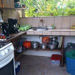 Outside fully equipped kitchen