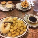 French Dip and Sausage Biscuits, both with hash brown sides