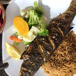 Charcoal grilled seabass