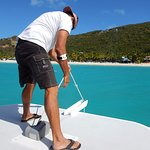 Captain Joe dropping anchor at Jost Van Dyke