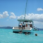 There is no dock at Jost Van Dyke but there is a ladder to get into the boat.