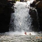 Swimming under the waterfalls