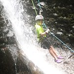 Our 9 year old loved repelling down a waterfall.