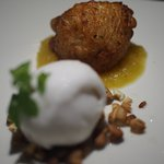 Crispy Yam ball with orange jam and coconut sorbet