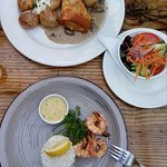 Dinner menu: Breast chicken wrapped in filo pastry and lemon butter prawn