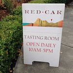 Sandwich board leading to Red Car Winery Tasting Room in Sebastopol.