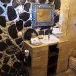 Bathroom- good internal design but needs touch up.