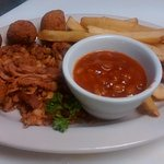 Chopped Pork Plate w/ Baked Beans, Fries & Hushpuppies