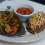 Sauteed Vegetables, Loaded Baked Potato & Baked Beans