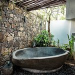 Stone bath in spa room