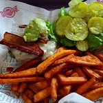 South West Burger with Sweet Potato Fries